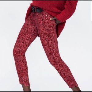 Zara Red/Black Leopard Print Mid Rise Skinny Jean